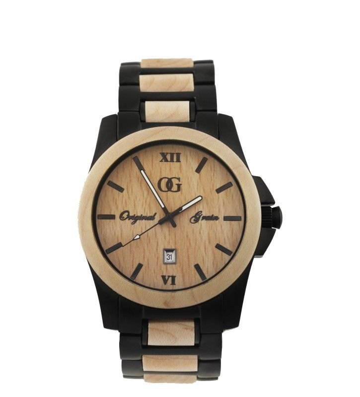 Original Grain Maple Wood Watch - Natural Wood & Stainless Steel Timepiece -