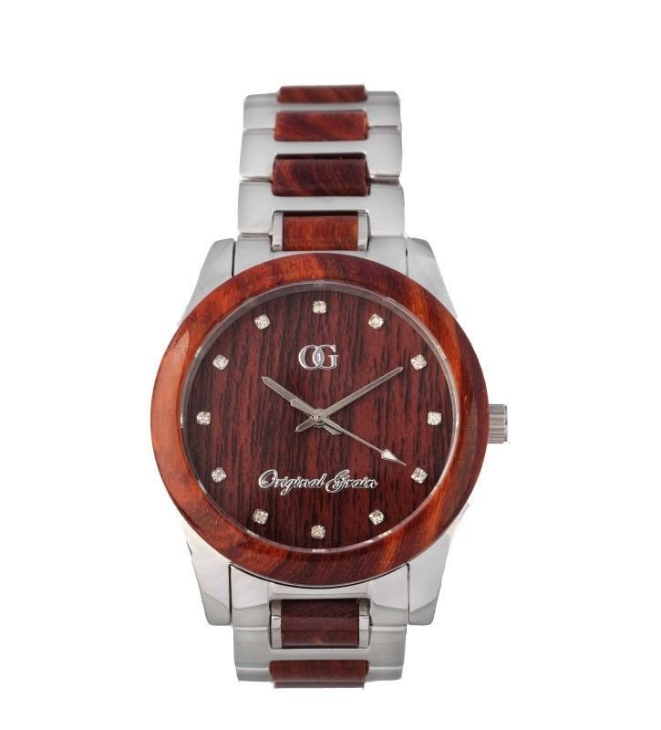 Original Grain Women's Rosewood Watch - Natural Wood & Stainless Steel Timepiece