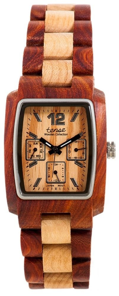 Tense Alpine Sandalwood/Maple Watch - Model J8302SM- Natural Wood Timepiece