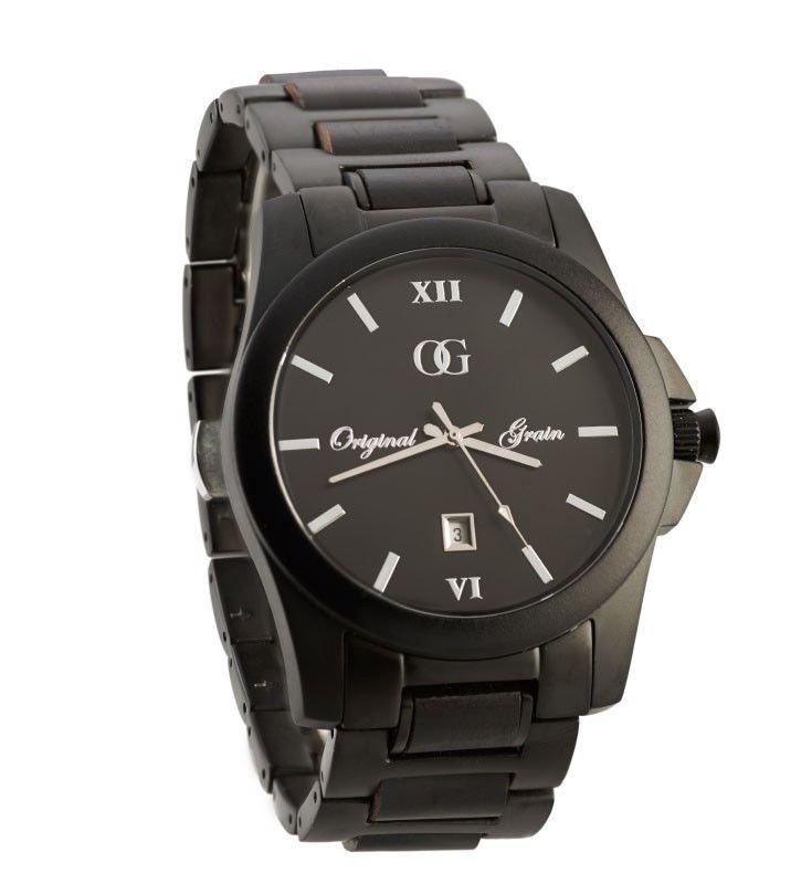 Original Grain Black SandalWood Watch - Natural Wood & Stainless Steel Timepiece