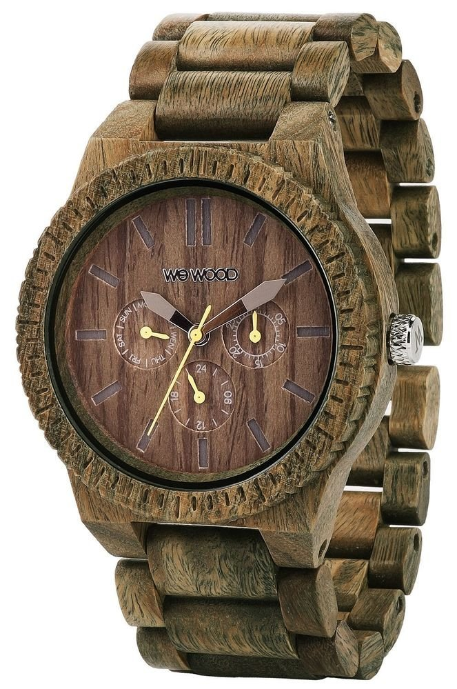 WeWOOD Kappa Chrono Army Green Watch - Natural Wood Timepiece