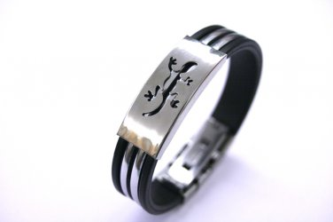 Silicone Wristband Bracelet Metal Cool