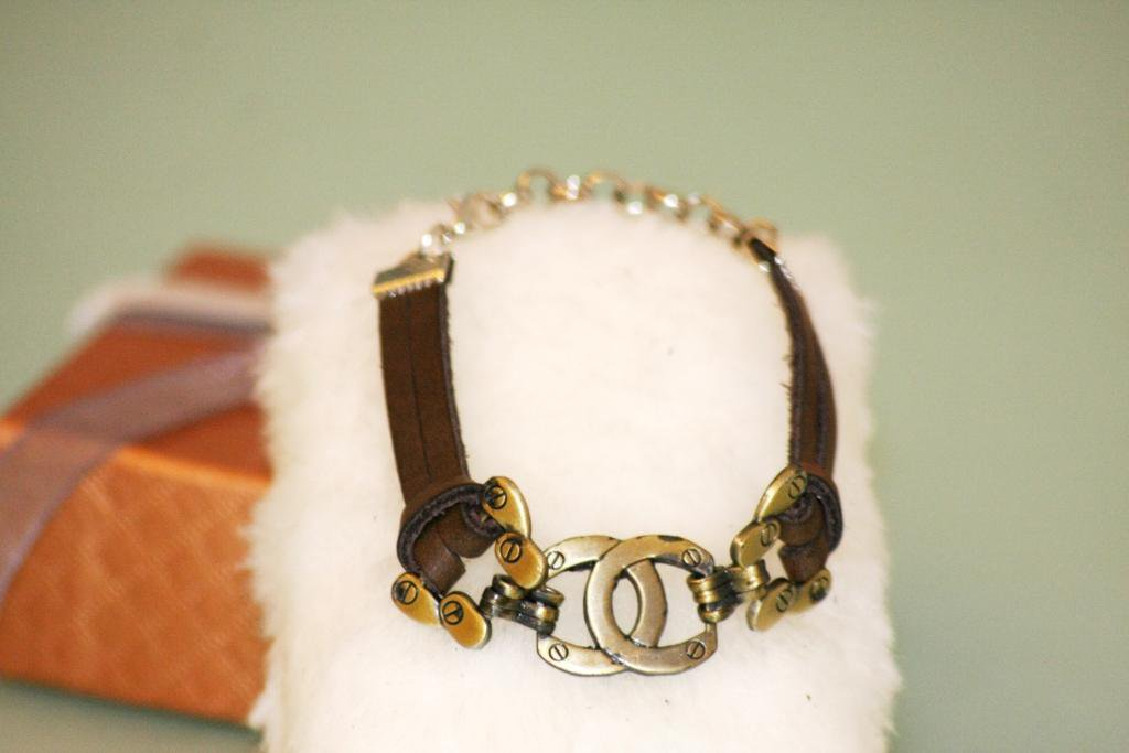 Ethnic Minorities in China Leather Wristband Bracelet With metal logo