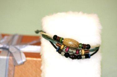 Ethnic Minorities Style Hemp Wood beads Bangle stone metal