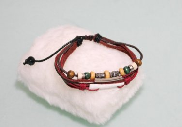 Ethnic Minorities Style Leather metal wooden beads Bracelet