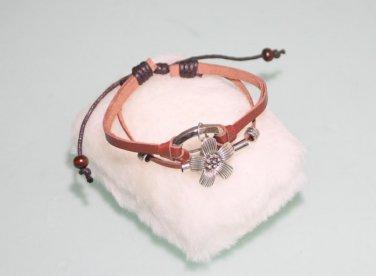 Fashion Leather Wristband Bracelet With mix metal