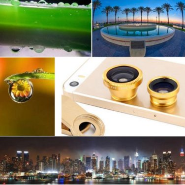 Gold 3 in 1 Fish Eye Wide Angle Lens 0.67x Macro Lens with Clip For All Phones