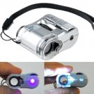 60X Zoom LED Light Pocket Microscope Jewelry Magnifier Loupe Glass LR43 Battery