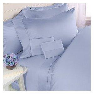 "1200TC Egyptian Cotton Extra Deep Pockets 28"" Blue Sheet Set 4Pc King Size"