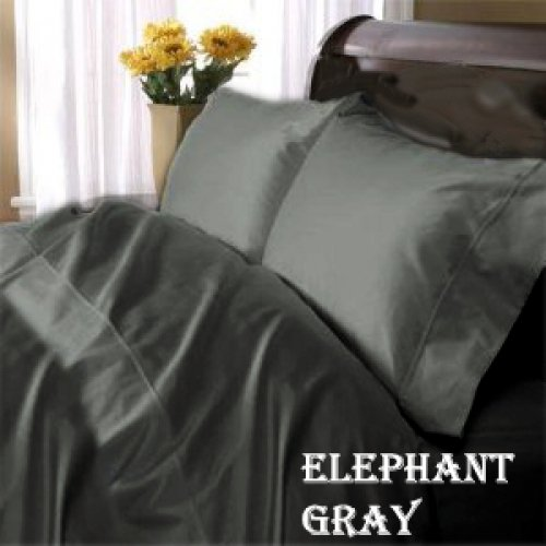 "1200TC Egyptian Cotton Extra Deep Pockets 28"" Carbon Gray Set 4Pc Full Size"