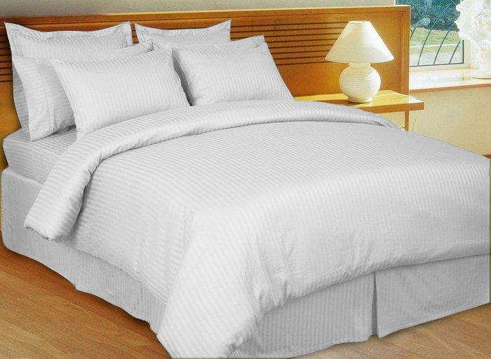 "1200TC Egyptian Cotton Extra Deep Pockets 28"" White Stripe Set 4Pc Full Size"
