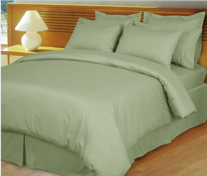 """1200TC Egyptian Cotton Extra Deep Pockets 28"""" Sage Stripe Set 4Pc Olympic Queen Size"""