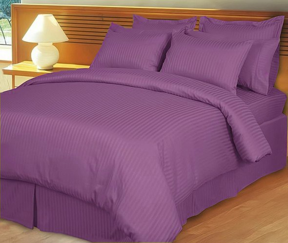 """1200TC Egyptian Cotton Extra Deep Pockets 28"""" Purple Stripe Set 4Pc Olympic Queen Size"""