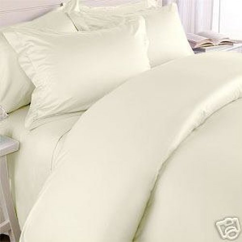 """1200TC Egyptian Cotton Extra Deep Pockets 28"""" Ivory Set 4Pc Olympic Queen Size"""