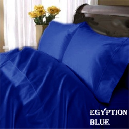 """1200TC Egyptian Cotton Extra Deep Pockets 28"""" Royal Blue Set 4Pc Olympic Queen Size"""