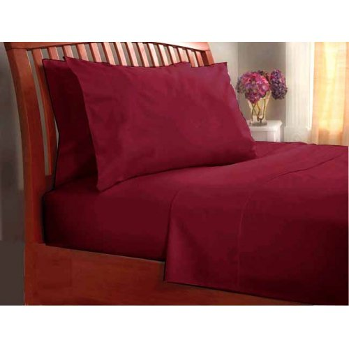 """1200TC Egyptian Cotton Extra Deep Pockets 28"""" Burgundy Set 4Pc Olympic Queen Size"""
