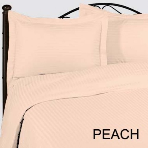 "1200TC Egyptian Cotton Extra Deep Pockets 28"" Peach Stripe Set 4Pc Olympic Queen Size"