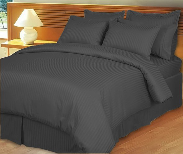 """1200TC Egyptian Cotton Extra Deep Pockets 28"""" Carbon Grey Stripe Set 4Pc Olympic Queen Size"""