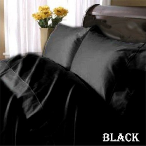 "1200TC Egyptian Cotton Extra Deep Pockets 28"" Black Set 4Pc Twin Size"