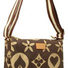 Bold Pattern Side Buckle Canvas Tote Handbag