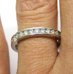 0.33CT ROUND DIAMOND WEDDING ANNIVERSARY BAND RING SOLID PLATINUM WARRANTY