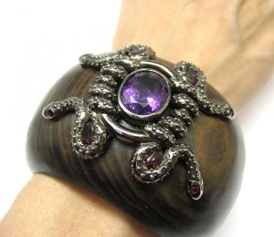 WOODEN CUFF WIDE BANGLE BRACELET with AMETHYST RUBY SILVER SNAKE GOTHIC