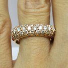 1.55CT PAVE DIAMOND ROSE GOLD WEDDING ANNIVERSARY BAND RING