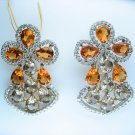 13.60CT WHITE GOLD DIAMOND DRESS YELLOW CITRINE SMOKY TOPAZ EARRINGS CLIP POST
