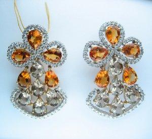 13.60CT WHITE GOLD DIAMOND DRESS YELLOW CITRINE SMOKY TOPAZ EARRINGS CLIP POST