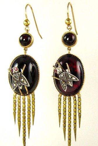AUTHENTIC FRINGED VICTORIAN CABOCHON GARNET DIAMOND EARRINGS CIRCA 1870 RARE!