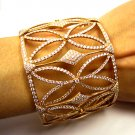10.00CT ESTATE DIAMOND BANGLE CUFF BRACELET 18K ROSE GOLD MICRO PAVE GORGEOUS !