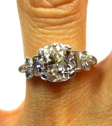 2.32CT ANTIQUE VINTAGE ART DECO SOLITAIRE DIAMOND ENGAGEMENT WEDDING RING EGL