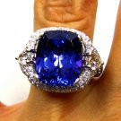 GIA 10.79CT ESTATE CUSHION TANZANITE DIAMOND RING DEEP VIOLETISH BLUE PLATINUM !
