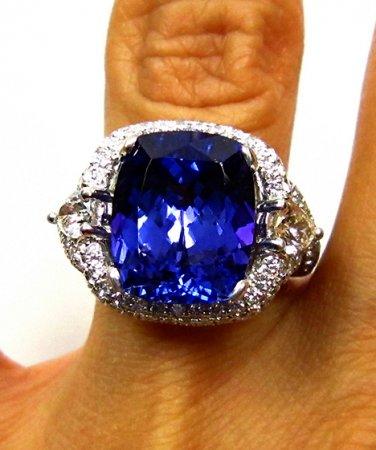 GIA 10.79CT ESTATE CUSHION TANZANITE DIAMOND RING DEEP VIOLETISH BLUE PLATINUM !