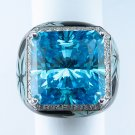 BLUE TOPAZ QUARTZ 18K WHITE GOLD BLACK and BLUE DIAMOND RING ITALY HEAVY THICK!!