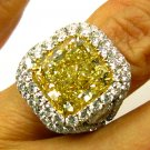 GIA 9.53CT ESTATE FANCY YELLOW RADIANT DIAMOND ENGAGEMENT WEDDING RING PLATINUM
