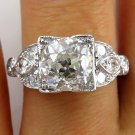 2.31CT ART DECO ANTIQUE VINTAGE DIAMOND ENGAGEMENT WEDDING RING EGL USA PLATINUM