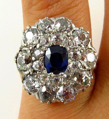 4.45C ANTIQUE VINTAGE VICTORIAN SAPPHIRE DIAMOND CLUSTER ENGAGEMENT WEDDING RING