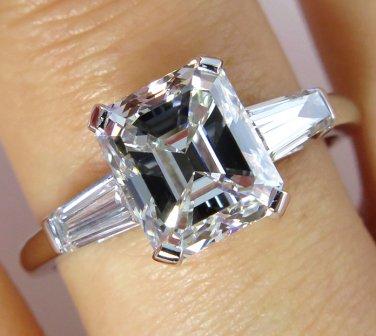 3.53CT ESTATE VINTAGE EMERALD CUT DIAMOND ENGAGEMENT WEDDING RING PLAT EGL USA