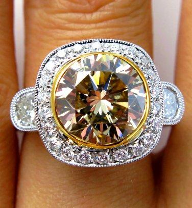 5.73CT ESTATE VINTAGE FANCY COGNAC ROUND DIAMOND ENGAGEMENT WEDDING RING EGL USA