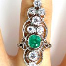 GIA 3.60CT ART NOUVEAU ANTIQUE VINTAGE GREEN EMERALD DIAMOND ENGAGEMENT RING PLA