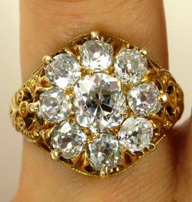 2.38CT ANTIQUE VINTAGE VICTORIAN DIAMOND CLUSTER ENGAGEMENT WEDDING RING EGL USA