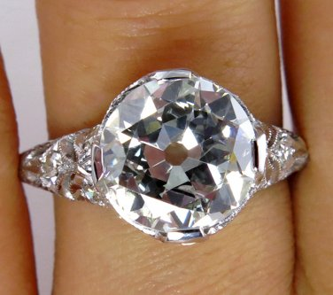 3.02CT ANTIQUE VINTAGE EDWARDIAN DIAMOND ENGAGEMENT WEDDING BAND RING PLATINUM