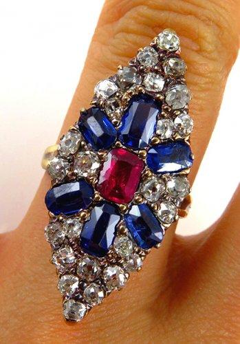 4.86C ANTIQUE VINTAGE VICTORIAN SAPPHIRE DIAMOND CLUSTER ENGAGEMENT WEDDING RING