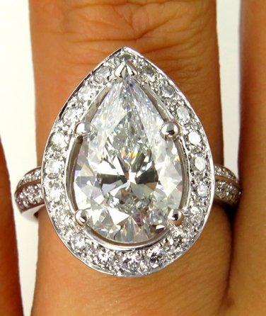 4.46CT VINTAGE ESTATE PEAR SHAPE DIAMOND ENGAGEMENT WEDDING RING EGL USA 14K WG