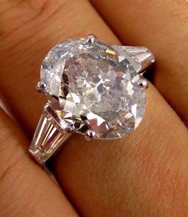 5.76CT ESTATE VINTAGE OVAL DIAMOND SOLITAIRE ENGAGEMENT WEDDING RING PLAT IGI