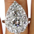 3.06CT ANTIQUE VINTAGE DIAMOND PEAR CLUSTER ENGAGEMENT WEDDING RING EGL USA PLAT