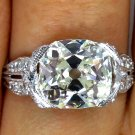 3.41CT ANTIQUE VINTAGE OLD MINE CUSHION DIAMOND ENGAGEMENT WEDDING RING EGL USA
