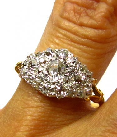 1.35CT ANTIQUE VINTAGE OLD MINE DIAMOND CLUSTER ENGAGEMENT WEDDING BAND RING