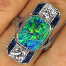 4CT ANTIQUE VINTAGE LARGE ART DECO BLACK AUSTRALIAN OPAL DIAMOND SAPPHIRE RING